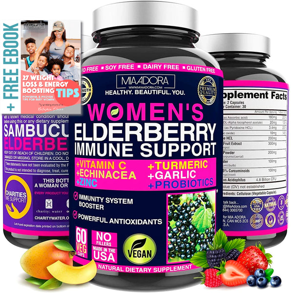 Natural Immune System Booster Elderberry Supplement for Women with Vitamin C & Probiotics