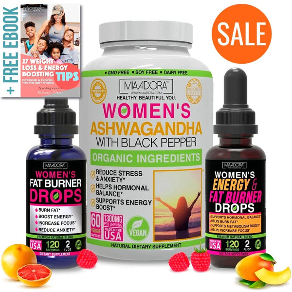 Weight Loss, Energy and Stress Super Bundle [Ashwagandha Capsules, Fat Burner & Energy Drops]