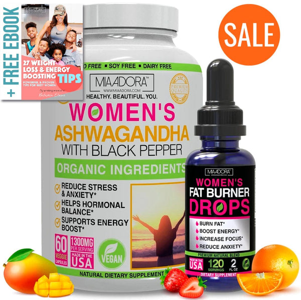 Weight Loss, Energy and Stress Bundle [Ashwagandha Capsules, Fat Burner Drops Opt 2]