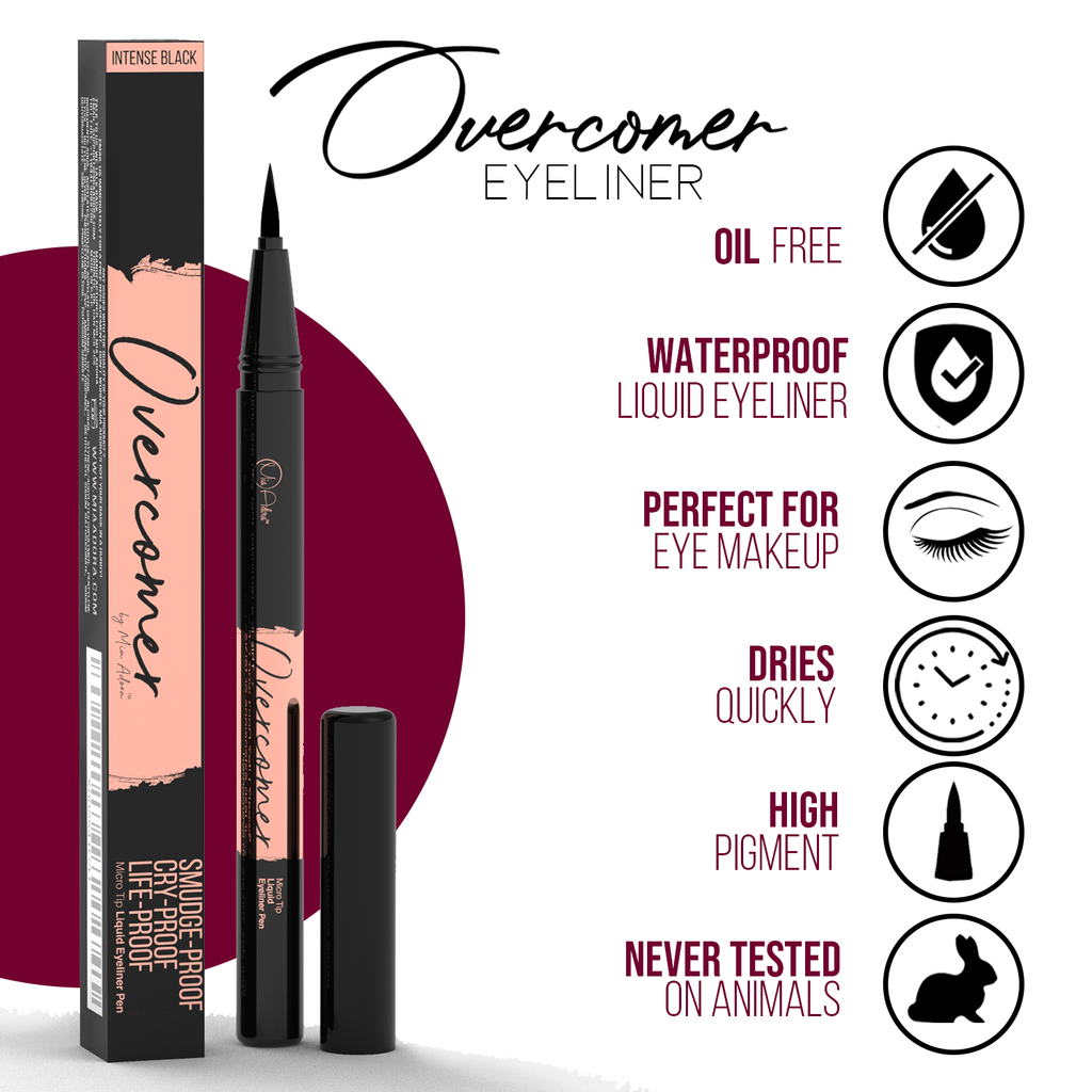 Overcomer - Premium Black Micro-Tip Eyeliner (Safe for Eyelash Extensions)