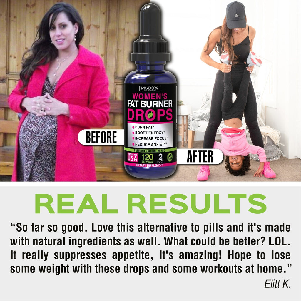 "Real testimonial after trying Fat Burner Drops by Mia Adora: ""so far so good. Loce this alternative to pills and it's made with natural ingredients as well. What could be better? LOL It really suppresses appetite, it's amazing! Hope to lose some weight with these drops and some woekouts at home"" Elitt K."