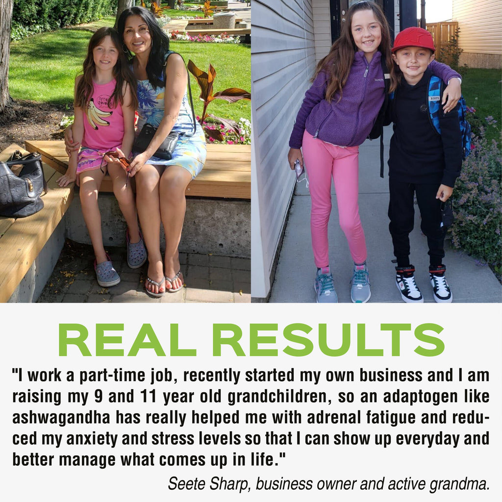 "Testimonial after trying Organic ashwagandha with black pepper by Mia Adora: ""I work a part-time job, recently started my own business and I am raising my 9 and 11 year old grandchildren, so an adaptogen like ashwagandha has really helped me with adrenal fatigue and reduced anxiety and stress levels so that I can show up everyday and better manage what comes up in life"""