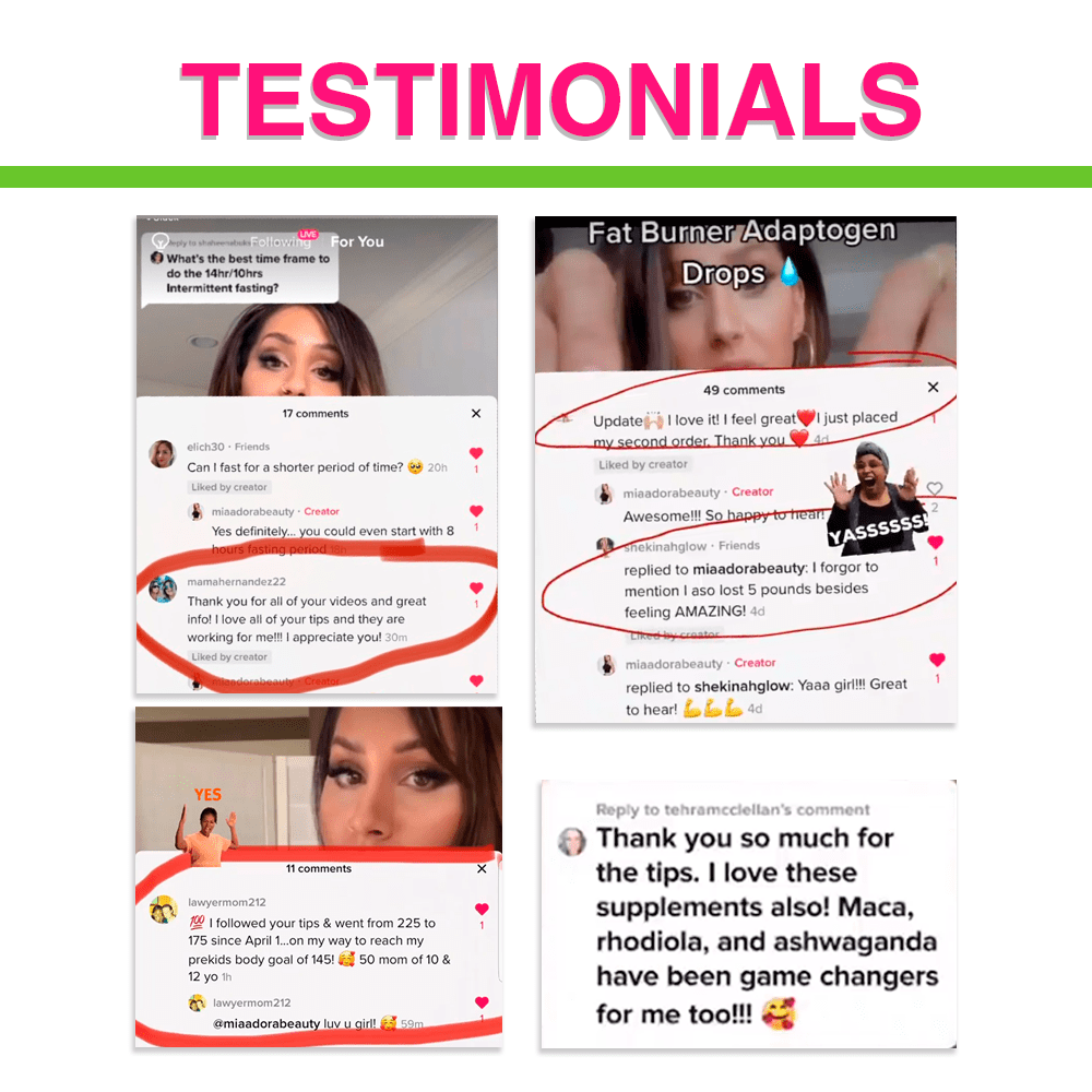 Social media testimonials from women who tried and love Fat Burner drops for energy supplement