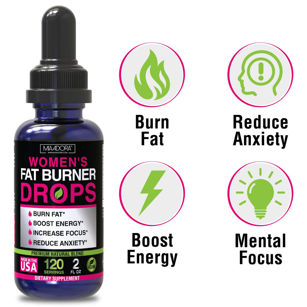 Main benefits of fat burner energy drops for women by Mia Adora: burn fat, reduce anxiety, boost energy, mental focus