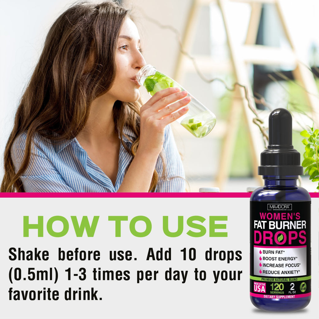 how to use fat burner drops and energy for better results: shake before use. Add 10 drops (0.5 ml) 1-3 times per day to your favorite drink