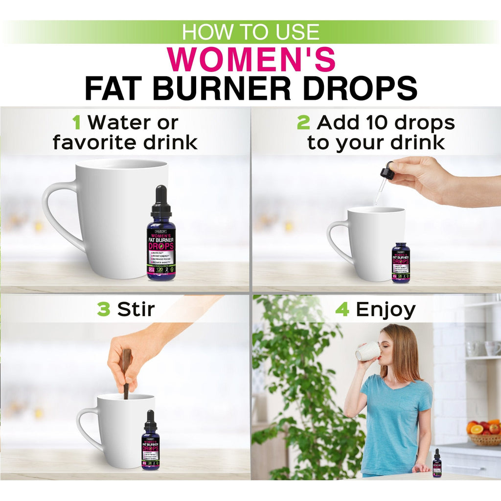 Steps to take Fat burner and energy natural supplement drops by mia adora: 1 water or favorite drink, 2 add 10 drops to your drink, 3 stir, 4 enjoy