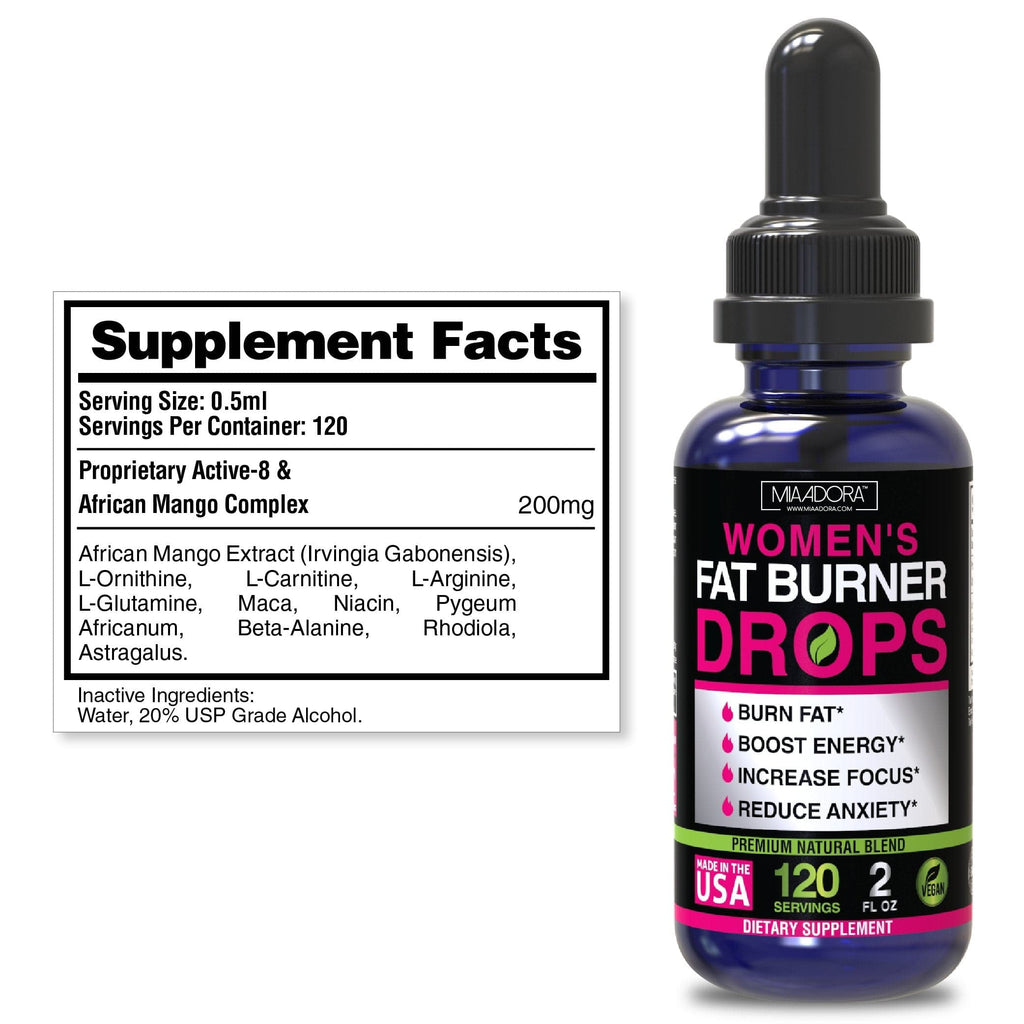 Supplement facts of fat burner drops by Mia Adora: Serving Size 0.5ml. serving per container 120