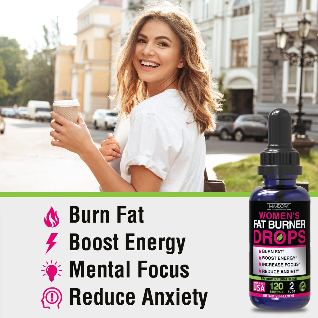 Main benefits of taking fat burner drops: burn fat, boost energy, mental focus, reduce anxiety