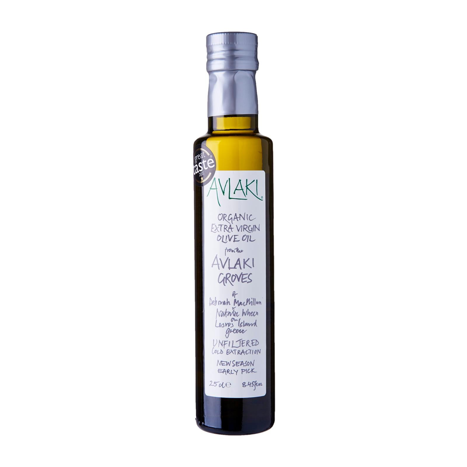 Avlaki Groves Extra Virgin Organic Olive Oil (250ml) Front