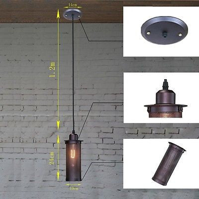 Single Head Balcony Droplight Lamp Industrial Metal Mesh 110-220V Chandelier