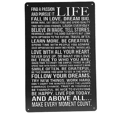 Life Poem Tin Sign Vintage Wall Decor