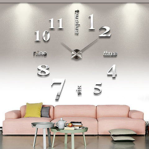 Decoration Luxury Mirror Effect 3D DIY Wall Clock Mirrors Face Large Art Hours
