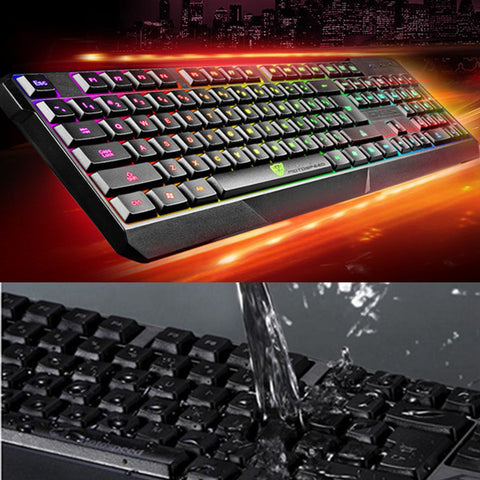 K70 Waterproof Colorful LED Illuminated Backlit USB Wired Gaming Keyboard