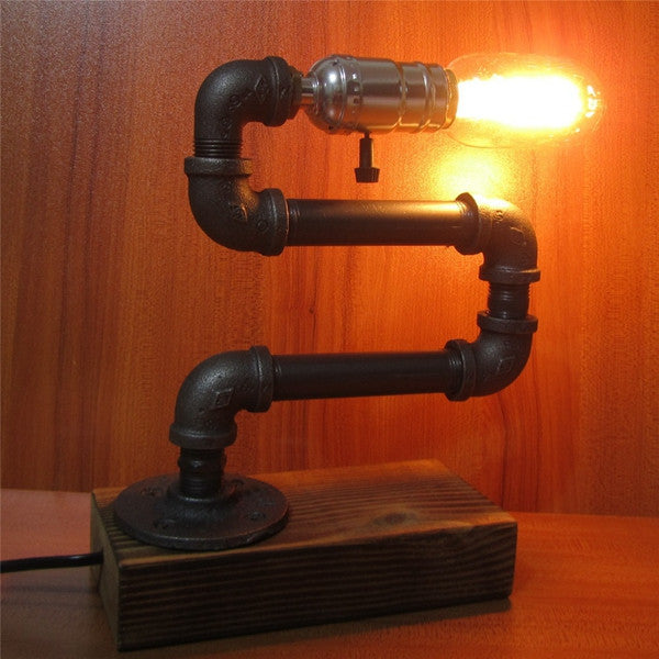 Adjustable Retro Industrial Style E27 Edison Bulb Pipe Table Lamp Cafe Decoration