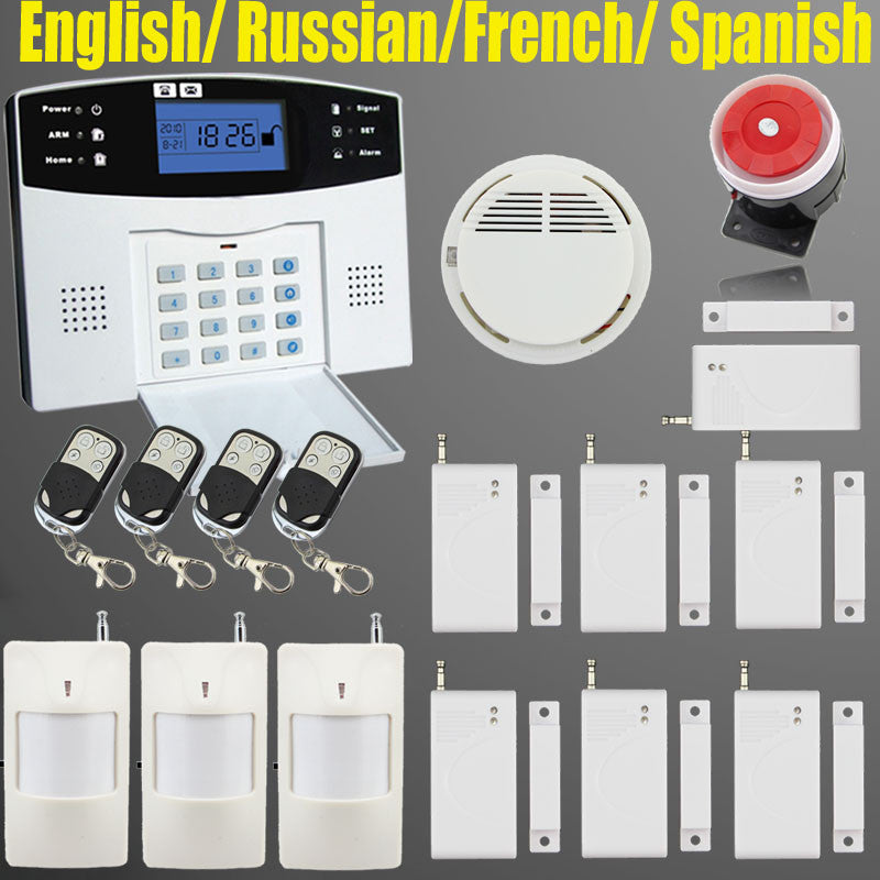 LCD Keyboard Wireless SMS Home GSM Alarm systems House intelligent auto Burglar Door Security Alarm System kit+Smoke detector