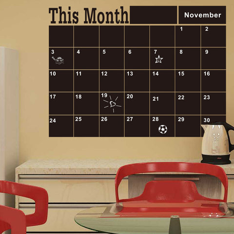 Monthly chalkboard Blackboard Removable Vinyl Wall Sticker Decor Month Plan Calendar Chalkboard DIY