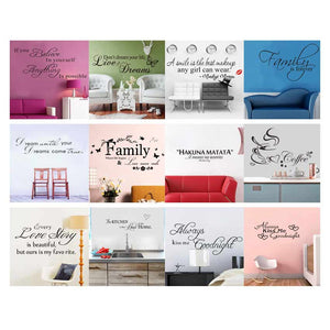Art Words Quote Wall Sticker Family Quotes Wall Decal Home Decoration Bedroom Removable Vinyl Adesivo De Parede 12PC Choose