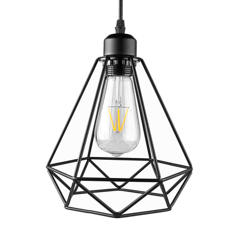 Industrial Vintage Diamond Cage Pendant Light Sconce Hanging Droplight Lamp E27 Socket AC 85-240V (no bulb included)