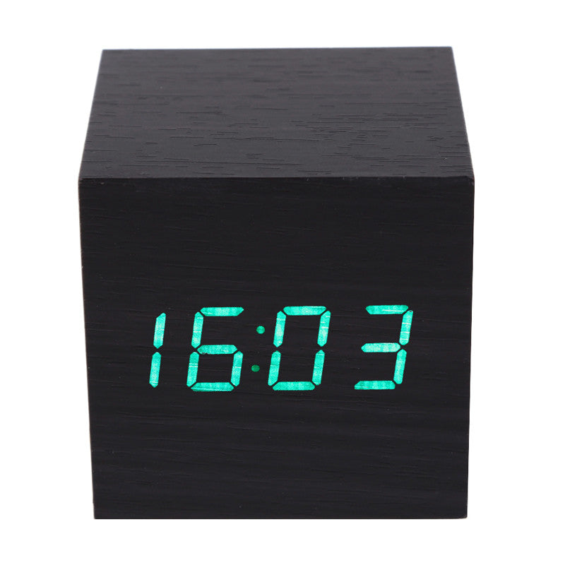 Cube Wooden LED Alarm Clock LED Display Electronic Desktop Digital Table Clocks Wooden Digital Alarm Clock Free Shipping