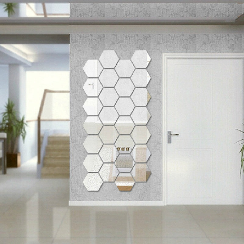 Modern Creative 3D Silver Mirror Geometric Hexagon Acrylic Wall Bedroom Living Room Stickers Decor DIY Gift