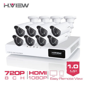 H.View 8CH CCTV System 720P HDMI AHD 8CH CCTV DVR 8PCS 1.0 MP IR Security Camera 1200 TVL CCTV Camera Surveillance System