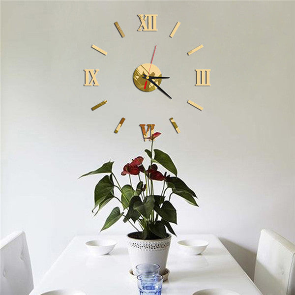 New DIY Mirror Design Wall Clocks Home Decor Decal Clock 3D Home  Wall Stickers