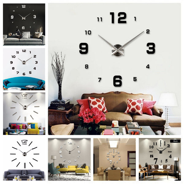 New DIY  3d Home Decoration Wall Clock Big Mirror Wall Clock Modern Design,Large Size Wall Clocks.DIY Wall Sticker Unique Gift