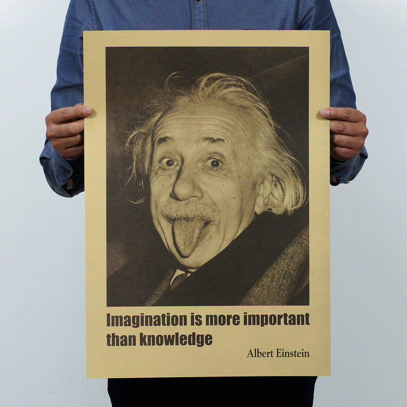 Albert Einstein Poster Vintage Retro Paper Imagination is more important than knowledge