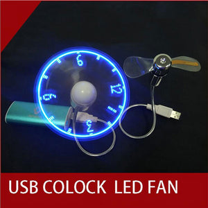 Game Accessories USB Mini Flexible Time LED Clock Fan with LED Light Cool Gadget usb fan for pc Notebook