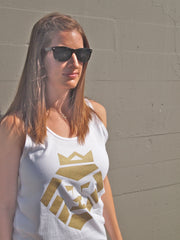 Gold Lion Tank Top in White