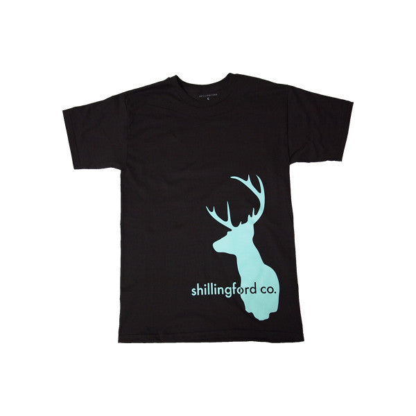 Mint Stag T-Shirt in Black by Shillingford Co.