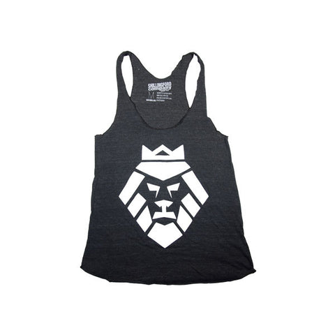 White Lion Racerback Tank in Black by Shillingford Co.