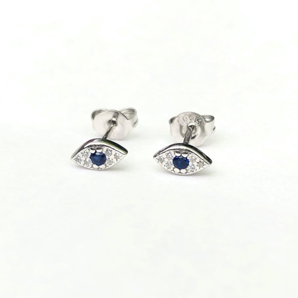 Evil Eye Silver Stud Earrings