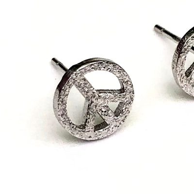 Peace Silver Stud Earrings