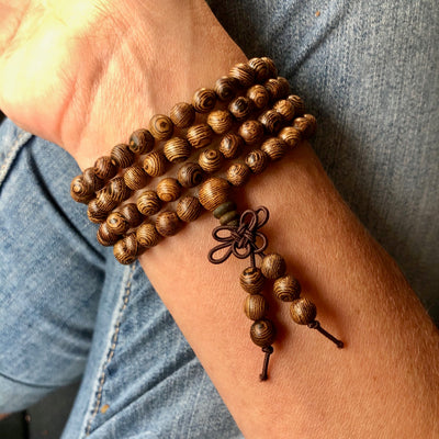 Natural Sandalwood Mala Bracelet