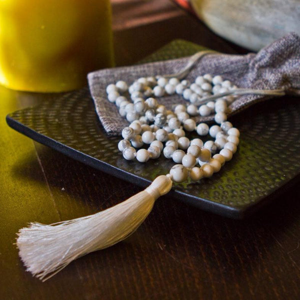 Natural Howlite Mala Necklace