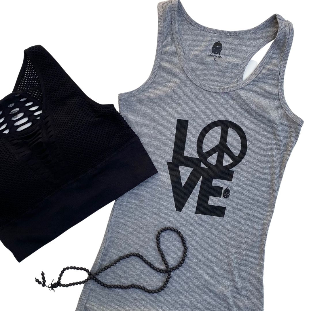 Peace & Love Asana Tank ~ Grey