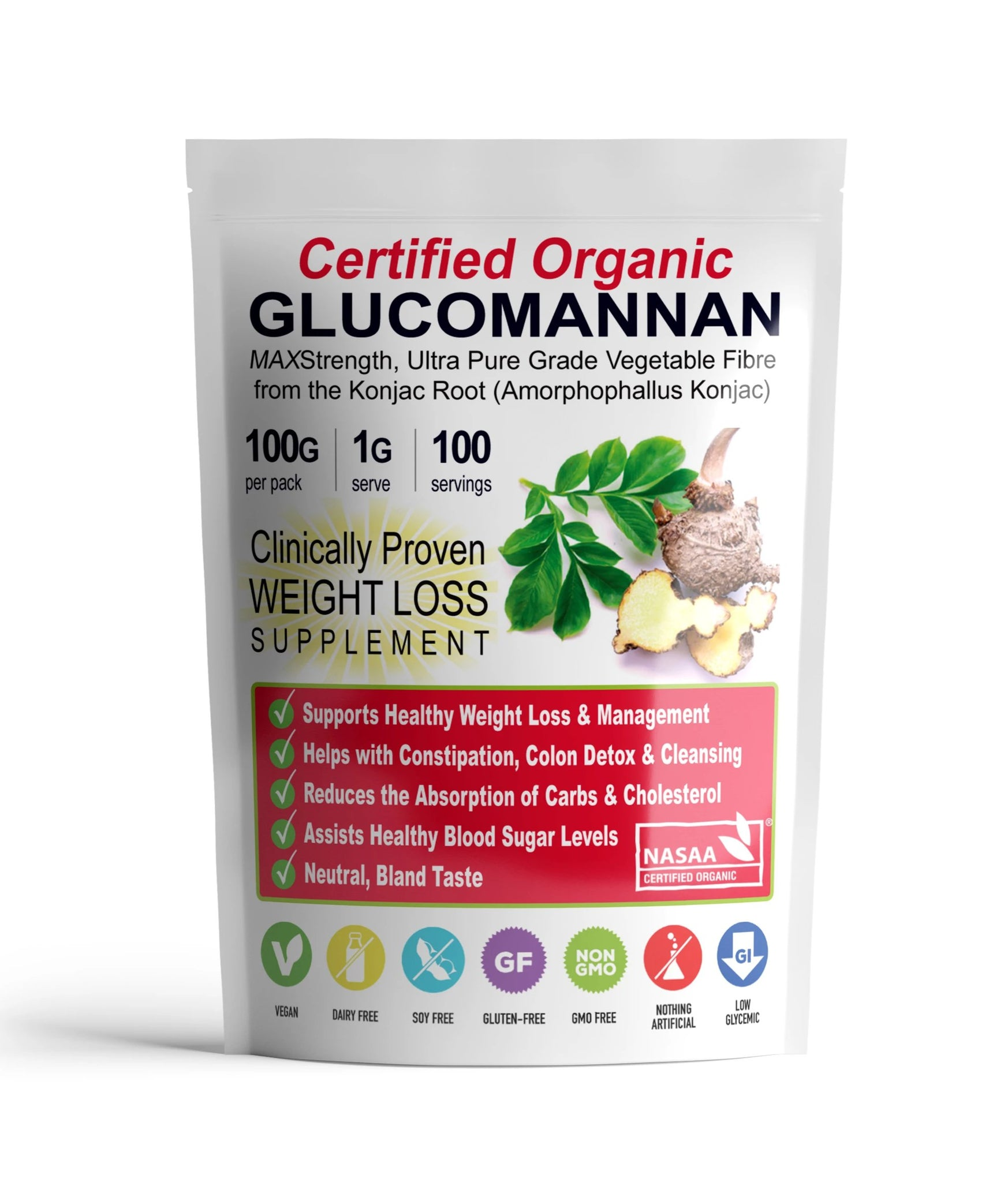 10 Packets ZERO Glucomannan Fibre (100g) + FREE DELIVERY!