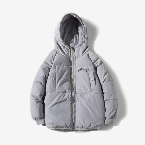"""Logo"" Puffer Jacket (Grey)"