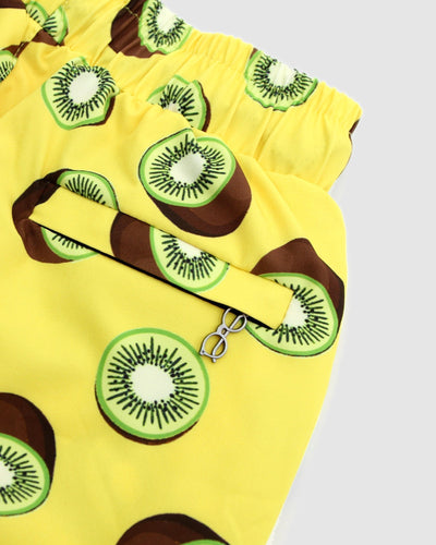 Yellow shorts with kiwi print