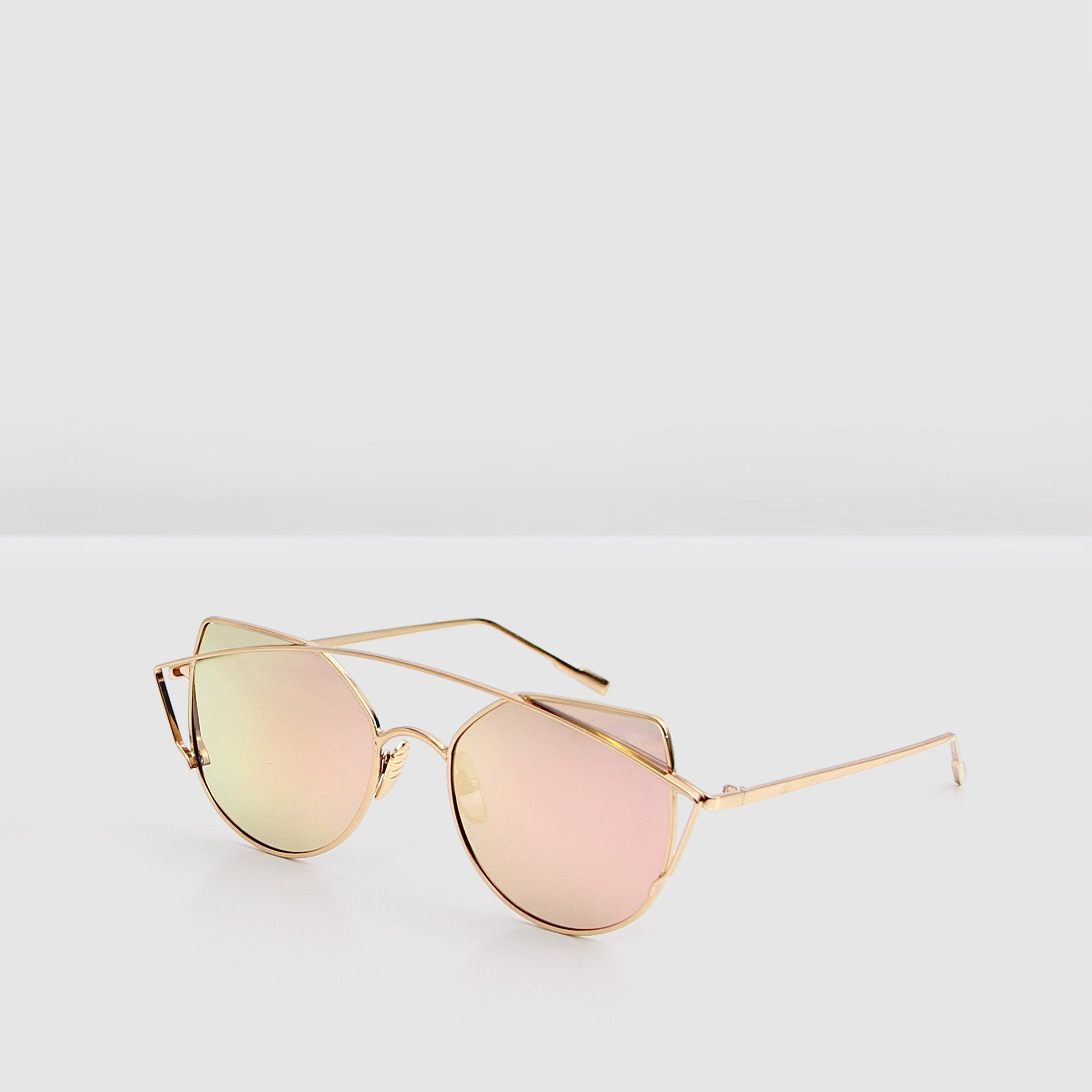 Rose gold mirrored lens glasses