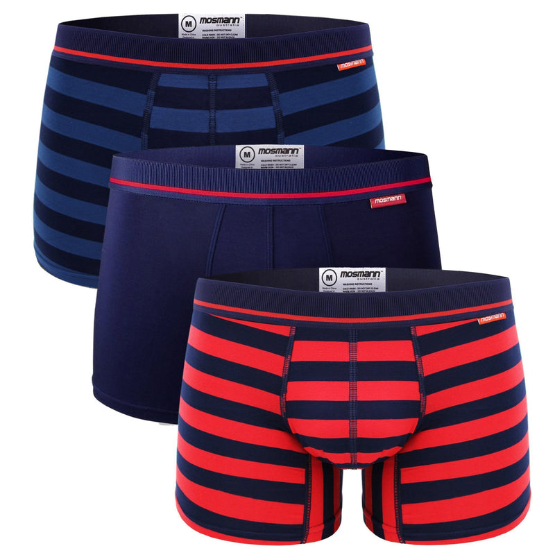 Men's 3 pack navy and red bamboo boxers