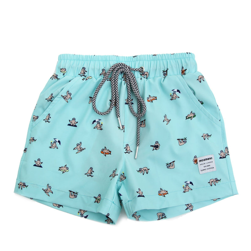 Matching male and child printed swim shorts
