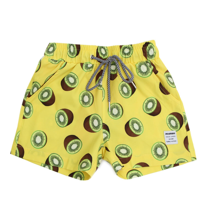 Matching swim shorts set in yellow with kiwi print