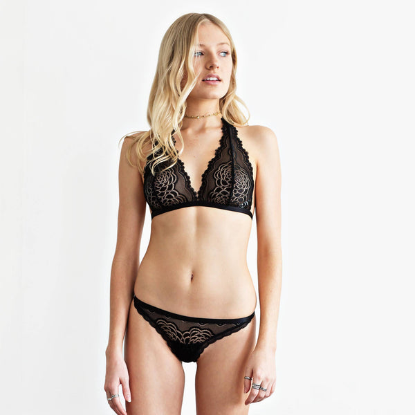 Black lace set. Halter neck bralette and G-string
