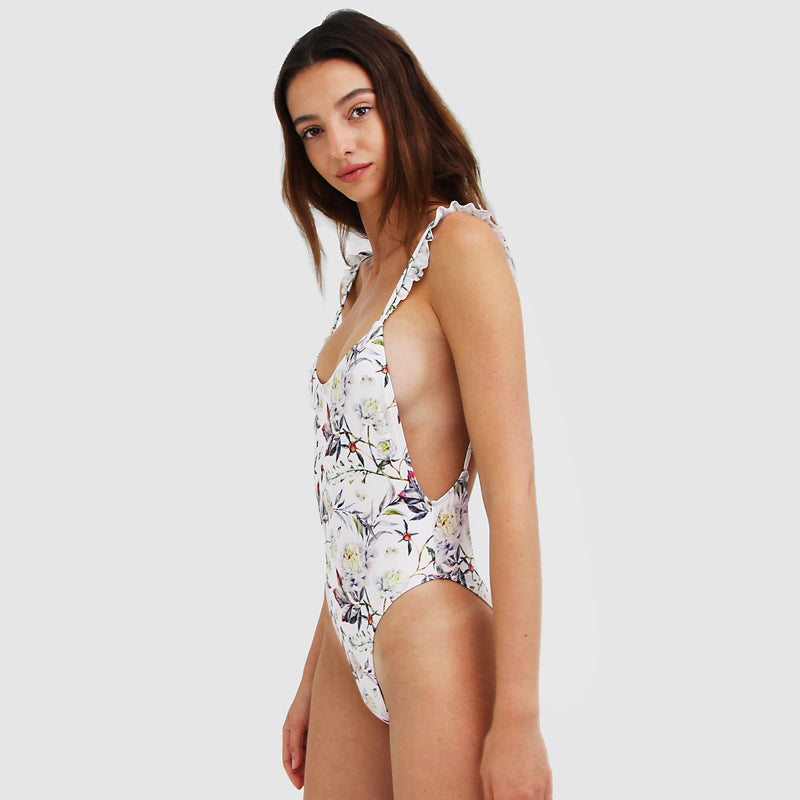 Women's floral swimsuit with flouncy straps