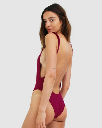 One piece adjustable strapped pink Swimsuit