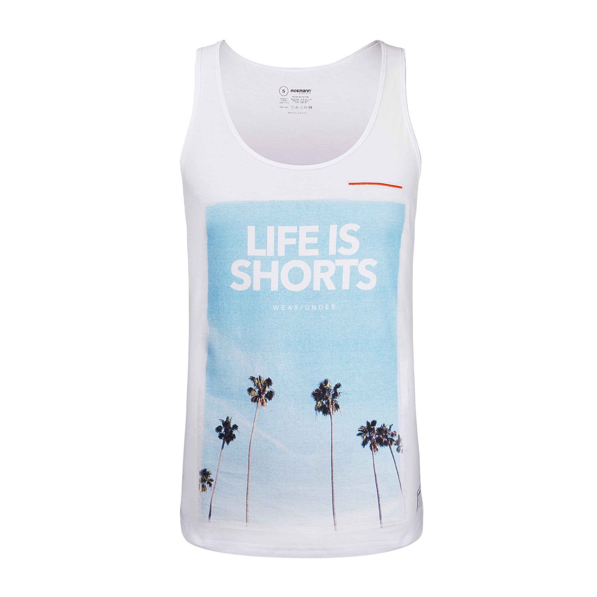 Mens White Printed Singlet With Palm Trees