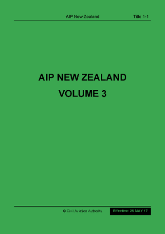 New Zealand AIP Volume 3 - CONTENTS ONLY (NOT including Vol 2 or Enroute Charts)