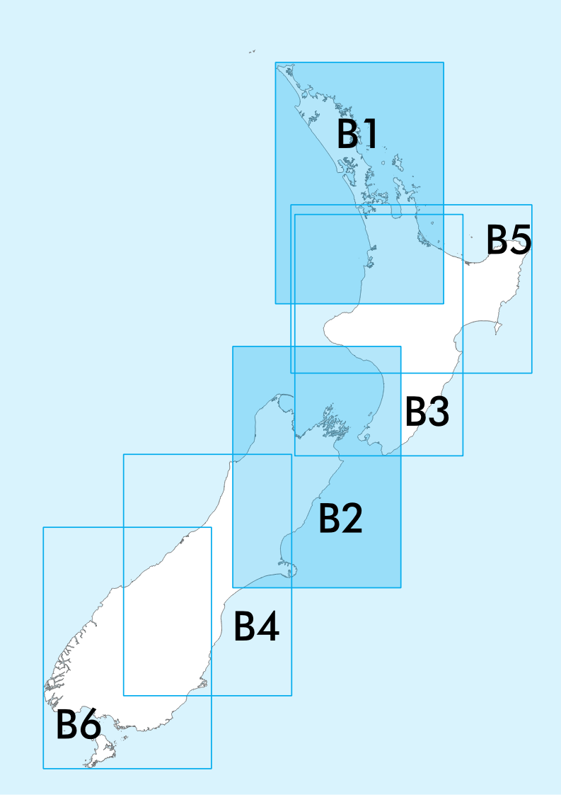 B1/B2 Visual Navigation Chart - Northland/Cook Strait (1:500,000) - 7 Nov 2019